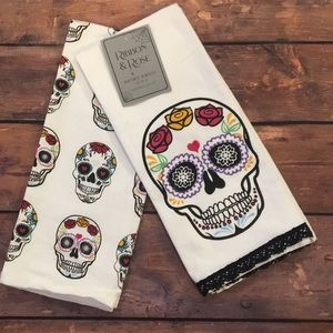 Sugar Skull Kitchen Tea Towles Set of 2 Halloween